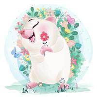 Ouriço sorridente fofo com flor em aquarela vetor