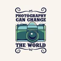 ilustração de câmera vintage com citação para design de camiseta
