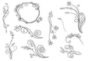 Pacote de redemoinhos de vetores florais