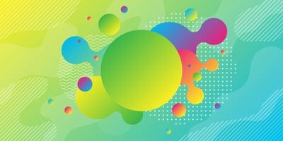 Esfera verde amarela brilhante e fundo colorido formas geométricas