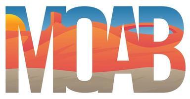Cena de Moab com tipografia de rochas vermelhas vetor