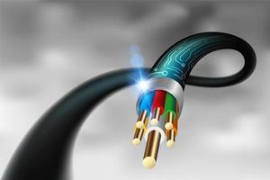 Cabo de fibra óptica de alta velocidade close-up vetor
