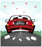 Carro recém casado do casamento vetor