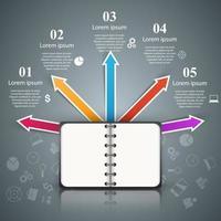 Livro de papel - infográfico de negócios. vetor