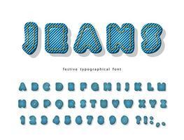 Fonte moderna de Denim Jeans. vetor