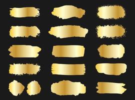 Coleção de banners de traçados de pincel grunge dourado vetor