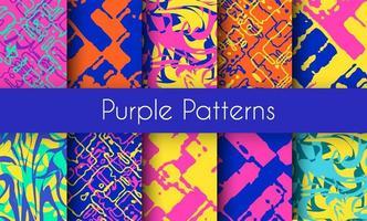 Conjunto de padrões de mármore roxos vetor
