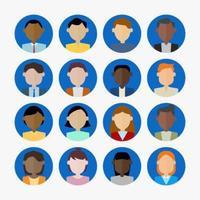 Conjunto de ícones de avatar de homens e mulheres.