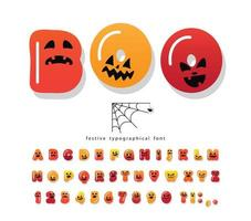 Fonte de desenhos animados de Halloween. vetor