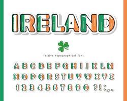 Fonte dos desenhos animados da Irlanda. Cores da bandeira nacional irlandesa. vetor