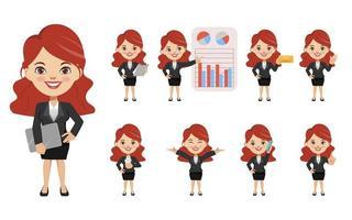 Conjunto de empresária criação personagem posar com trabalho de ocupação de terno uniforme. Estilo de pessoas de negócios de desenho animado Chibi. vetor