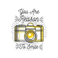 ilustração de sorriso de câmera com citação para design de camiseta