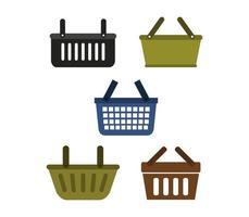 ícones de cesta de compras em um fundo branco vetor