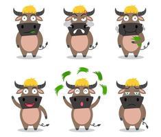 Conjunto de desenhos animados de búfalo bonito em emoções diferentes vetor