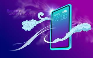 Previsão do tempo em tempo real com smartphone vetor
