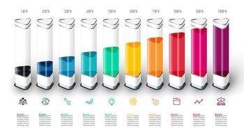 Gráfico de barras infográficos com pedaço 3d colorido.