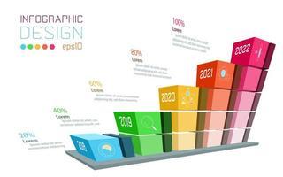 Infográfico de negócios na barra de gráfico tridimensional vetor