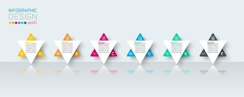 Infográfico de negócios com 6 etapas. vetor