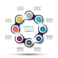 Círculo vinculado com infográficos de ícone de negócios sobre fundo de mapa do mundo. vetor