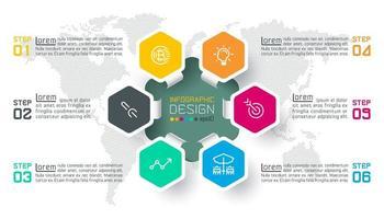 Etiquetas do hexágono de negócios dão forma à barra de círculos infográfico. vetor