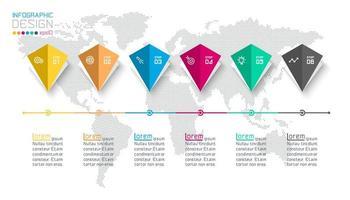 Bar rótulos infográfico com 6 etapas.