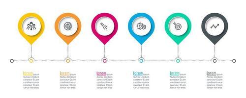 Infográfico de rótulo de círculo com 6 etapas.