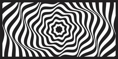 Fundo de arte óptica geométrica de onda preto e branco vetor