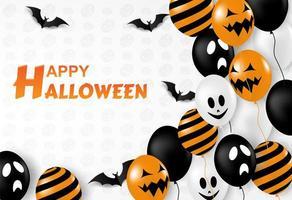 Feliz dia das bruxas design com balões e morcegos em branco vetor