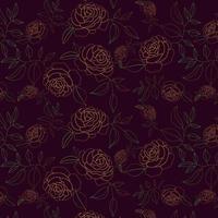 padrão de contorno floral desenhada de mão