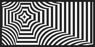 Padrão de perspectiva geométrica em preto e branco op art vetor