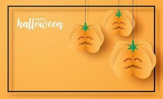 Design de Halloween com abóboras de arte em papel e moldura preta vetor