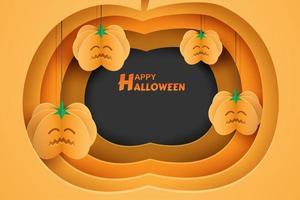 Design de Halloween com recorte de abóbora e abóboras de suspensão de papel de arte vetor