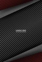 fundo de sobreposição de fibra de carbono preto e vermelho vetor