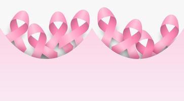 Projeto de conscientização de câncer de mama com fitas rosa em fundo rosa suave vetor