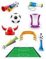 conjunto de futebol futebol fã itens e acessórios ilustração em vetor