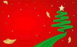 Design de Natal com fita verde árvore de Natal e confetes de folha de ouro
