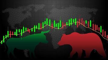 Mercado em alta vs. Gráfico de gráfico de vara de vela de mercado de urso vetor