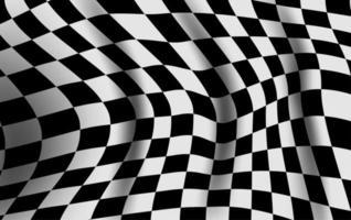 Bandeira quadriculada preto e branca entortada vetor