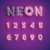 Conjunto de caracteres de néon roxo realista com caixa de plástico ao redor, ilustração vetorial vetor