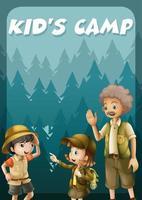 Garoto indo acampar na floresta vetor