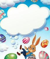Feliz Páscoa tema com coelho no céu vetor