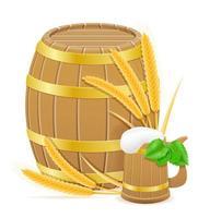 lúpulo e ingredientes de trigo para fazer ilustração vetorial de cerveja