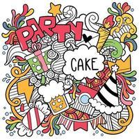 doodle de festa mão desenhada ornamentos vetor