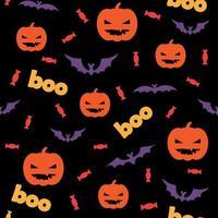 Padrão sem emenda de halloween com abóboras, doces e morcegos