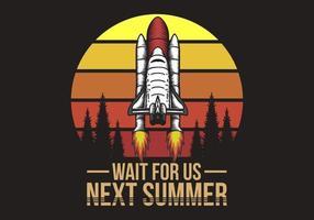 nave espacial pôr do sol retrô ilustração vetor