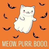 Cartão de dia das bruxas com gato como fantasma kawaii.