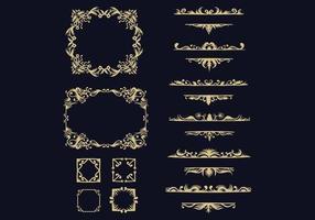coleção de ornamento dourado vetor