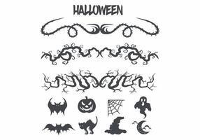 Conjunto de imagens e decorações de Halloween vetor