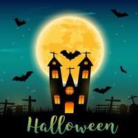 Texto de Halloween e castelo escuro e morcegos no fundo da lua.
