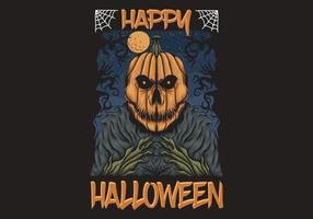 ilustração de halloween feliz cabeça de abóbora vetor